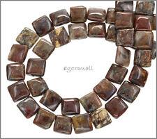 "Red Brown Pietersite Flat Square Beads 10mm 15.3"" 77053"