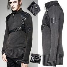 SWEATER maglione Gotico Steampunk Militare Cinturino in Pelle con Borchie Spike Punkrave Man