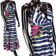 MAXI DRESS by KUCCIA GYPSY BOHO STYLE BLUE STRIPE & FLORAL PRINT S/M or M/L