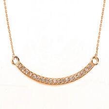 14k Rose Gold Smiley Face Curved CZ Necklace