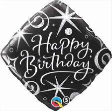 Feliz Cumpleaños Diamante Plata Remolinos & Estrellas 45.7cm Fiesta