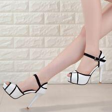 Fashion Womens Peep Toe Platform Stilettos High Heels Belt Buckle Shoes Size 8