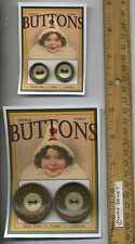 4 Fancy Lithograph Tin metal cat stripes VINTAGE BUTTONS = Cassie Annie ART CARD