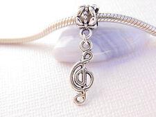 Silver Tone Treble G Clef Music Note Key Dangle Charm European Bead fit Bracelet