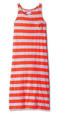 Pinkhouse Girls Chest Pocket Racer Back Striped Maxi Dress, Neon Orange/ Gray 6X