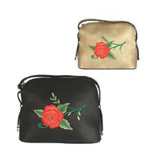 borsa donna tracolla ecopelle nero oro pochette borsetta ricamo fiori rosa patch