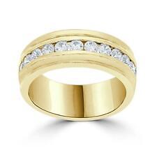 Men's Engagement Natural Diamond Ring 1.00Ct 14Kt White Gold Channel Set 7.75MM