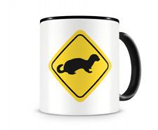 Frettchen Warnschild Tasse Kaffeetasse Teetasse Kaffeepott Kaffeebecher Becher