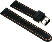 Minott Ersatzband Uhrenarmband Silikon Band Schwarz glatt mit orangen Ziernaht 2