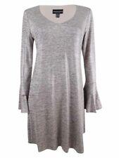 Connected Women's Petite Bell-Sleeve Metallic Shift Dress