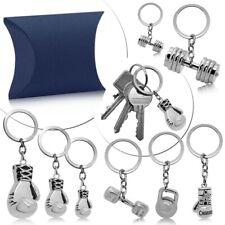 1 Edelstahl Schlüsselanhänger Hantel Fitness Boxen Boxhandschuh Gewicht Mit Etui