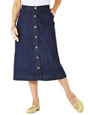 Amber Denim Button Through Cotton Long Skirt