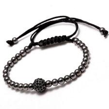 18K 4 mm Gold Plated Beads Micro Pave CZ Zircon  Braided Mens Macrame Bracelets
