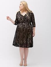 LANE BRYANT Surplice Fit Flare Lace Dress 16 18 20 22 24 26 28  ~1x 2x 3x 4x