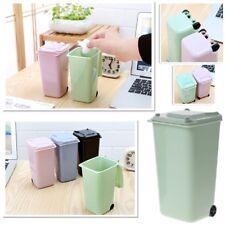 Mini Waste Bin Desktop Garbage Basket Table Home Roll Swing Lid Trash Can