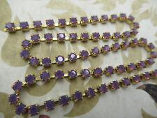 3mm Purple Opal Rhinestone Chain - Brass Setting - Amethyst Czech Crystals