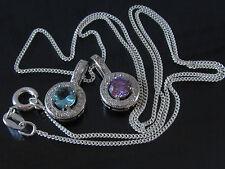 NEU COLLIER Anhänger mit Kette 925 Silber Zirkonia Lila oder Aqua-Blau QUALITÄT