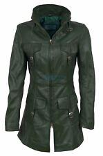 Lasvegas vert femme woman vintage soft lavé cuir véritable veste trench coat