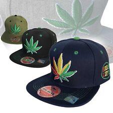 Weed Leaf Snapback Cap Hat Flat Visor Snap Back Hip Hop Hiphop Cannabis LEAF