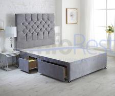 "Modern Plain Velvet Conti IBEX LUXURY Divan Bed + 54"" height Headboard-UK MADE"
