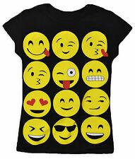 KIDS GIRLS EMOJI EMOTICONS SMILEY FACES PRINT SHORT SLEEVE T-SHIRTS VEST TOPS