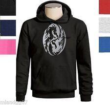 Ying Yang Symbol Silver Logo Dragon Hoodie Sweatshirt S - 3XL