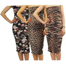 Ladies Strapless Boob Tube Bodycon Midi Dress Printed Bandeau Floral Dress 8-22