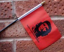 "CHE GUEVARA HAND WAVING FLAG Small 6"" x 4"" with black pole CUBA CUBAN COMMUNIST"