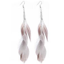 Feather Earrings for Women Pendant Girls Jewelry Silver Long Drop Earring BS