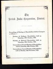 The British India Corporation Limited Shareholder Meeting Proceedings 1932