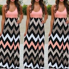 Plus Size Fashion Women's Summer Sleeveless Striped Long Boho Beach Maxi Dress