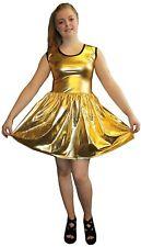METALLIC SHINY PVC GOLDEN GREASE WETLOOK ROCKABILLY SWING SLEEVELESS DRESS RAVE