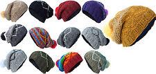 Zigzag Woolen Knitted Beanie Hats Fleece Lined Winter Nepalese Warm Hippie Caps