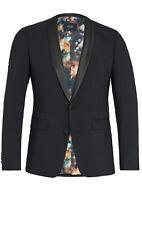 Giacca modello Smoking Nero Slim Fit Digel misto lana stretch con petto in raso