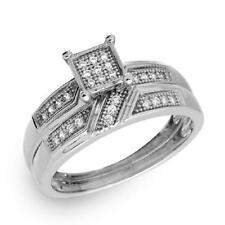 Sterling Silver 2-pcs Engagement / Wedding Square Design Pave CZ Stones Ring Set