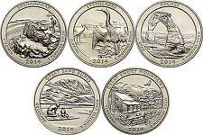 5 x 25 Cent /Quarter Dollar - USA - 2014 - Das Schöne Amerika - Komplett