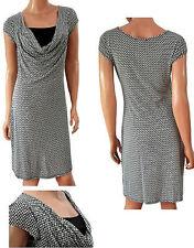 Classic Print Ladies Stylish Monochrome Waterfall Cowl Neck Shift Dress 8 - 16