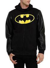 DC Comics Batman Logo Emblem Leather Sleeve Zip up Black  hoodie New with tags