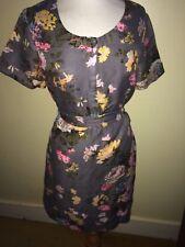 JOULES Primrose Floral Linen / Flax Dress Sz 12 RRP£79.95 Free UK P&P