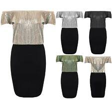 Womens Frill Bardot Off Shoulder Crinkle Metallic Glitter Two Tone Bodycon Dress
