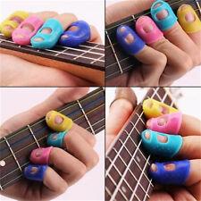 4x Guitar Fingertip Protectors Silicone Finger Guards for Bass/Ukulele Guitar JS