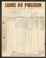 """ROUBAIX (59) LAINE à TRICOTER Franco-Australienne """"LAINE DU PINGOUIN"""" en 1937"""