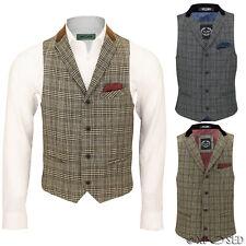 Mens Vintage Waistcoat Herringbone Tweed Check Velvet Collar Retro Formal Vest