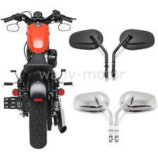 Pair Custom Black Chrome Mirrors For Harley Bobber Cafe Racer Refit Motorcycle