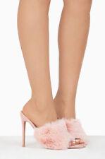 Cape Robbin Savage Blush Pink Pointed Toe Peep Toe High Furry Mule Dress Pump