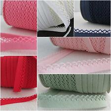 PLAIN picot lace / crochet edged double fold bias binding - per metre