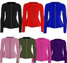 Womens Zip Blazer Peplum Ruffle Blazer Jacket Top Size Frill Tailored 8-22 New