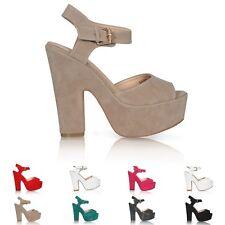 Donna plateau high tacco spesso Peep Toe Cinturino alla Caviglia Nuovi UK 3-8