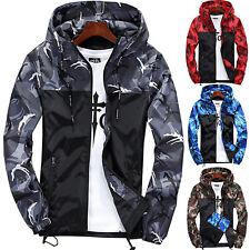 0dce8f347c Men Camo Camouflage Hooded Zipper Jacket Windbreaker Coat Tops Outwear Plus  Size
