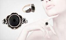 Women's intagliata Nero Onice Gotico Argento Anticato/Anello Di Moda Vintage